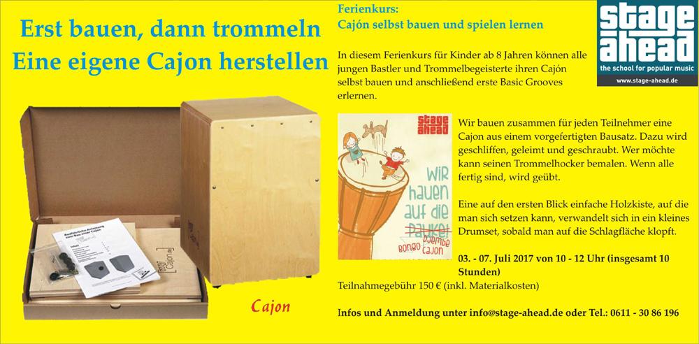 sommerferienkurs f r kinder cajon selbst bauen und. Black Bedroom Furniture Sets. Home Design Ideas